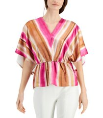 alfani striped batwing-sleeve top, created for macy's