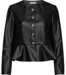 vegan leather jacket with peplum