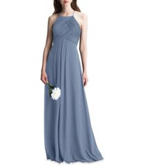 women's #levkoff halter chiffon a-line gown, size 16 - grey