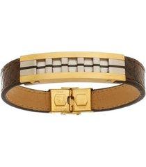 bracelete de aço inox tudo joias gold com 13mm de largura