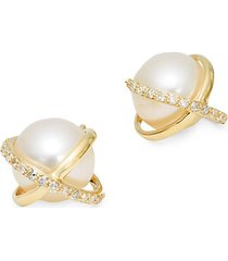 14k gold freshwater pearl & diamond stud earrings