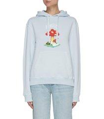 mushroom graphic logo cotton hoodie