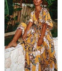 amarillo sin respaldo tropical profundo v cuello mangas cortas vestido