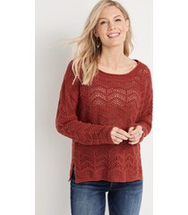 maurices womens open stitched pullover red