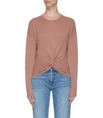 twist front rib knit panel sweater