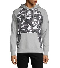 prps men's camo-print heathered cotton hoodie - heather grey - size xxl