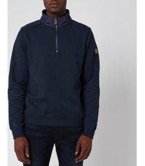 belstaff men's jaxon quarter zip sweatshirt - navy - xxl