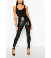 tall nepleren leggings met verstopte rits, zwart