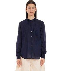 cotton silk voile pocket shirt