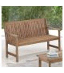 banco | banqueta ripado 2 lugares para áreas externas em madeira eucalipto - maior durabilidade – canela