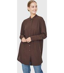 blusón vero moda marrón - calce oversize