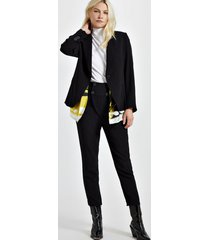 blazer de alfaiataria com lenço de viscose estampado preto - 40