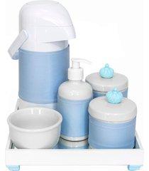 kit higiene espelho completo porcelanas, garrafa e capa coroa azul quarto beb㪠menino - azul - menino - dafiti