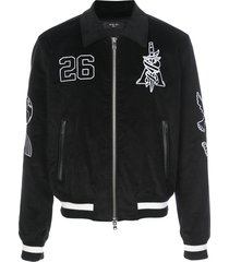 amiri varsity bomber jacket - black