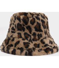 sombrero de pescador de piel sintética de leopardo