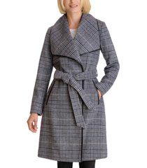 bcbgeneration plaid belted wrap coat