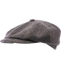 stetson hatteras flat cap - grey 6840107-31