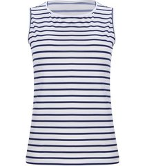 top a rayas azules color blanco, talla l
