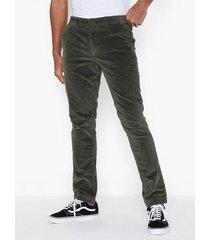 selected homme slhslim-ryan cord pants w byxor mörk grön