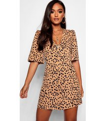 petite dalmatian print button through shift dress, camel