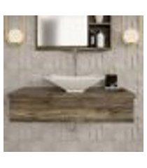 conjunto para banheiro bancada com cuba l38 folha city 800 carvalho dark
