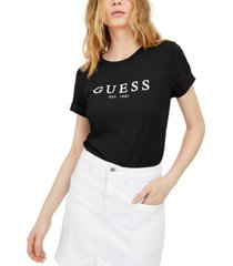 guess eco cuffed logo t-shirt