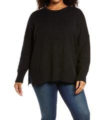 treasure & bond crewneck pullover, size 2x in black at nordstrom