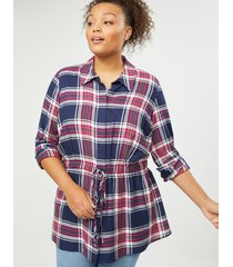 lane bryant women's plaid button-front tie-waist tunic 22/24 navy and burgundy plaid