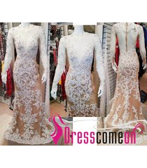 unique custom mermaid champagne lace long sleeve prom/evening/wedding dress q60