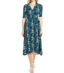women's boden lavinia jersey wrap dress, size 8 - blue