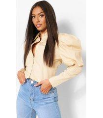 blouse met pofschouders, steenrood