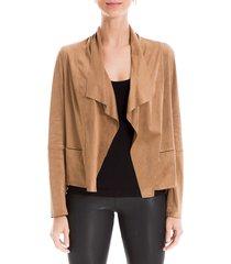 max studio women's zip suede jacket - vicuna - size xl