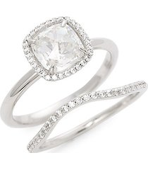 2-piece sterling silver simulated diamond ring set