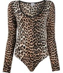 ganni leopard print long-sleeve bodysuit - neutrals