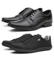 kit sapato social em couro + sapatênis casual preto/preto