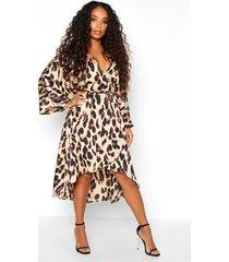 petite leopard print kimono sleeve wrap dress, tan