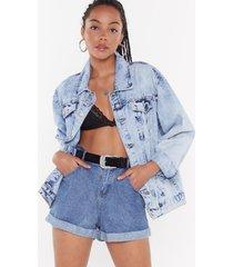 womens let's roll denim paperbag shorts - mid blue