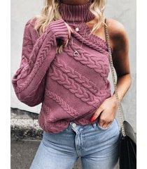 one suéter de tejido trenzado con hombros descubiertos