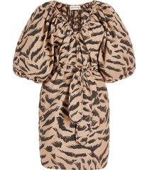 coletta organic cotton jacquard mini wrap dress