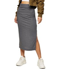 women's topshop ribbed jersey midi skirt, size 8 us - grey