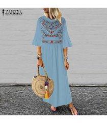 zanzea de las nuevas mujeres de boho floral de la playa de vacaciones en long señoras vestido maxi vestidos vestido de tirantes -azul claro