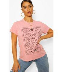 gebleekt tarot t-shirt met tekst, terracotta