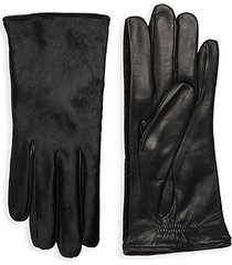 dyed calf hair leather gloves