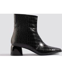 na-kd shoes croco basic boots - black
