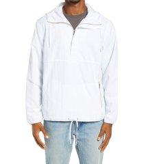 men's bp. cagoule hooded nylon popover jacket, size large - white