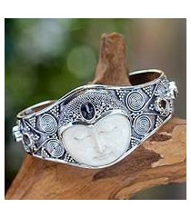 citrine and garnet cuff bracelet, 'imperial woman' (indonesia)