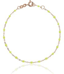 gigi clozeau 18kt rose gold classic gigi lime green beaded bracelet -