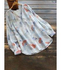 camicetta a maniche lunghe con stampa floreale scollo a v da donna