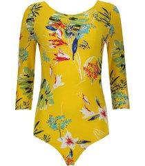 body mujer estampado floral color amarillo, talla 6