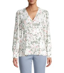 flared floral-print top